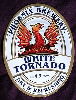 Beer pump badge clip PHOENIX brewery WHITE TORNADO real cask ale pumpclip front