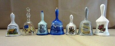 Lot of Seven Vintage Ceramic and Glass Collectible Souvenir Bells