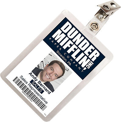 The Office Andy Bernard Dunder Mifflin ID Badge Cosplay Costume Name Tag TO-9