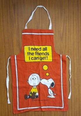 Snoopy Peanuts Charlie Brown Vtg Apron Red Rare Cartoon 50's Like New