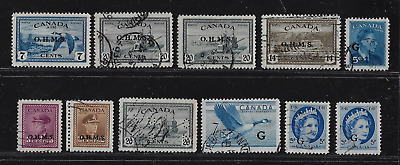 Canada Official Stamps — Lot of Various Stamps  ''O.H.M.S.'' & ''G''— Lot 9215