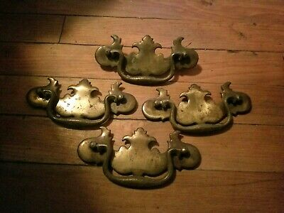 Antique Original Chippendale Solid Brass Swan Neck Drop Bail Drawer Pull