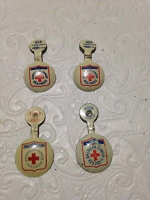 Vintage SET of 4 American Junior Red Cross fold over pins ca. 1950's