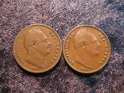 2 old world coin lot GREAT BRITAIN farthing 1831 KM705 King William IV