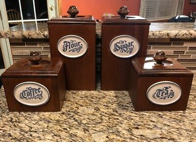 Vintage Wood Kitchen Canister Set of 4 with Removable Liners, Ceramic Name Plate