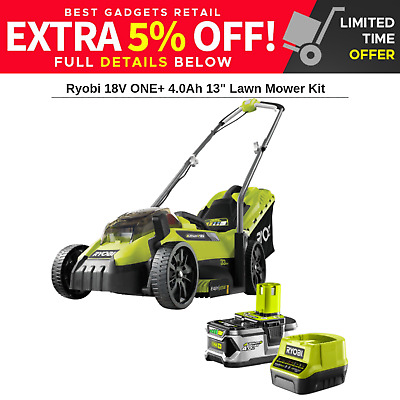 Ryobi 18V ONE+ Cordless Electric Lawn Mower +4.0ah Lithium Battery + Charger Kit