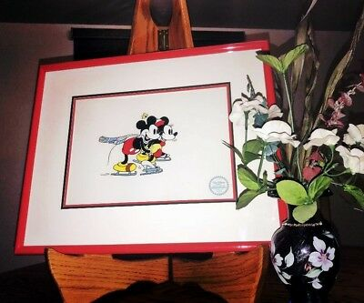 """Disney's """"the Skating Lesson"""" Limited Edition Serigraph Cel! Mickey & Minnie!"""