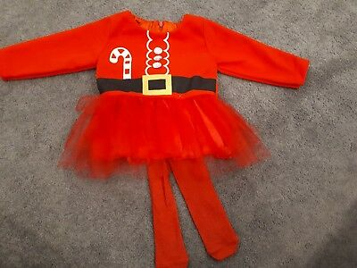 Girls Christmas Santa tutu Dress 6-12 Month sparkly Tights xmas Outfit Mrs Claus