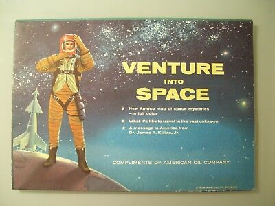 1958 Amoco Oil Venture Into Space Map Dealer Poster Ad American Gas Vtg Mystery