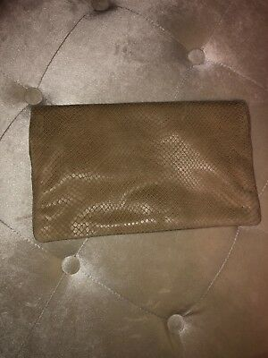 36a42bf64442 ANN TAYLOR CLUTCH Tan Vachetta Foldover Leather Purse - $12.00 ...