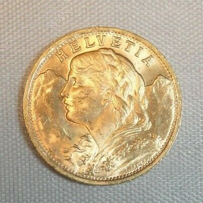 1947-B Swiss 20 Francs Gold Coin ~ .1867 Troy Oz. AGW ~ In Air-Tite Capsule