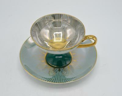 L M Royal Halsey Very Fine Green Cup and Saucer - Iridescent