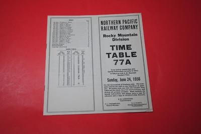 1956 Northern Pacific Rocky  Mountain Division ETT #77A EXC Nice Late Steam ETT!