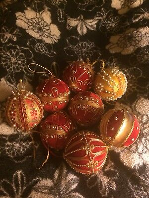 Vintage Beaded Christmas Ornament Gold Red Pearls