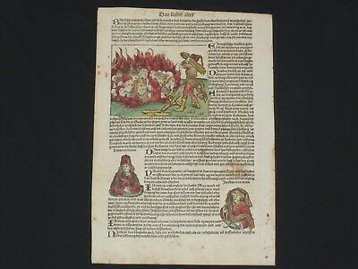 RARE Hand-Painted Nuremberg Chronicle Incunabula Schedel Leaf, Page CCXX, 1493