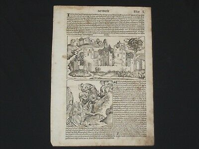 RARE Uncolored Nuremberg Chronicle Incunabula Schedel Leaf, Page L, 1493