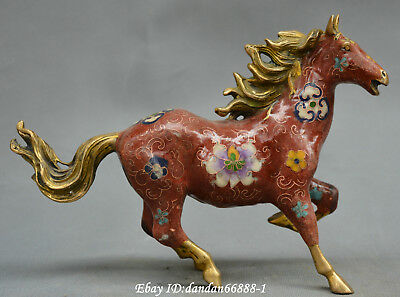 China old Cloisonne bronze Wealth horse success flower auspicious animal statue