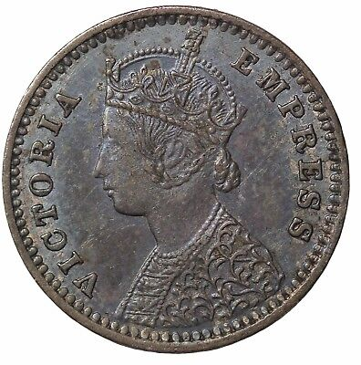British India Queen Victoria 1889-B Silver 2 Annas KM#488