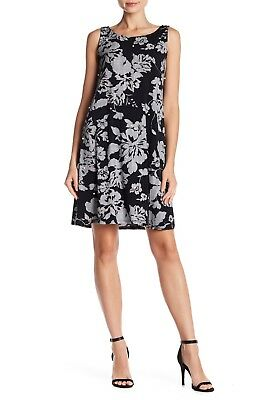 MSK Women Faux Pearl Embellished Floral Checked Dress BLK/WHITE $68 -SIZE L- NWT
