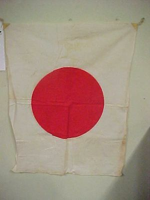 """Vintage WW2 Japanese Red Sun  WWII Military Flag 37"""" x 25"""" Leather Corners"""