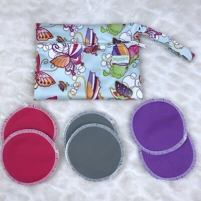 Wegreeco Set Of 3 (Pair) Of Washable Nursing Breast Pads With Pouch Colorful