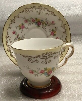 Queen Anne Fine Bone China Cup & Saucer ~Pattern #8359~Yellow Rimmed~England