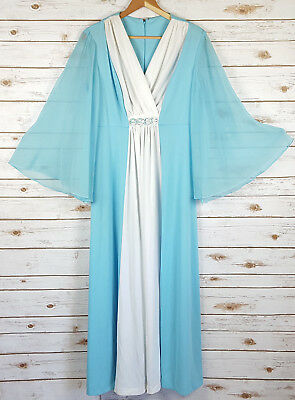 Vintage 70s Maxi Dress 16 M Blue & White Grecian Polyester Chiffon Gown Formal