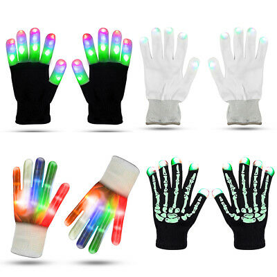LED Light Gloves Flashing Finger Glow Vocal Concert Xmas Halloween Rave Party