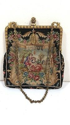 Antique Tapestry Purse  Vintage Tapestry Purse With Mirror  Coin Purse