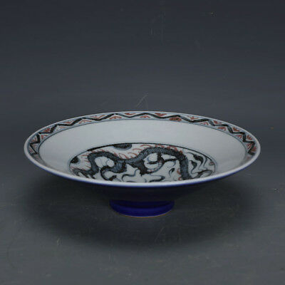 Nice Chinese Ming Blue&White Underglaze Red Porcelain Dragon Bowl