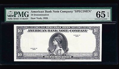 1929 American Bank Note Company Test 10 Specimen Pmg Gem Uncirculated 65 Epq