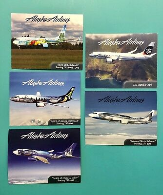 5 Themed Alaska Airlines Collectors Cards