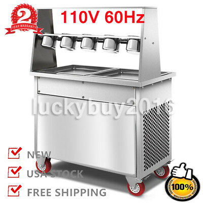 R410A 14inch Two Pan Thai Fried Ice Cream Machine Fry Roll Maker