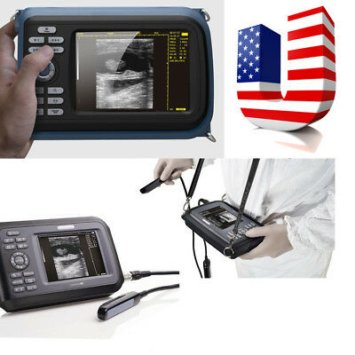 USA Color LCD Veterinary handheld palm ultrasound scanner Animal + rectal Probe