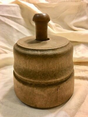 "Antique Butter Mold Stamp 8"" Hand Carved Wood Primitive Farm Estate"
