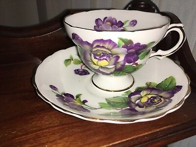Queens Royal Purple & Yellow Floral fine bone china Tea Cup & Saucer