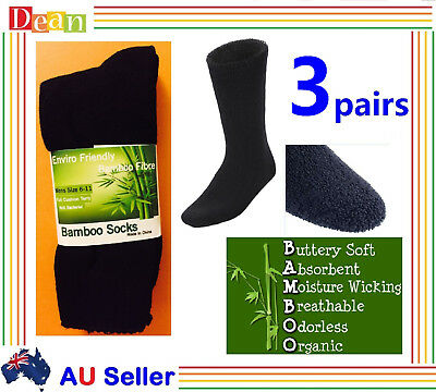 3 Prs 90% BAMBOO SOCKS Men's Heavy Duty Thick Work Socks Cushion BULK New Black