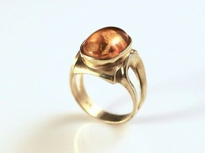 Gold-Plated Carved Polish Amber Rose Ring - 8922-3