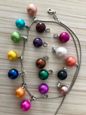 Large Edison Round Pearls Pendant Silver Plated 9-12mm Pearls Mixed 18 Colors
