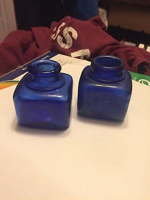 Lot Of Two Antique Cobalt Blue Square Ink Bottles Rare Pair Early 1900s