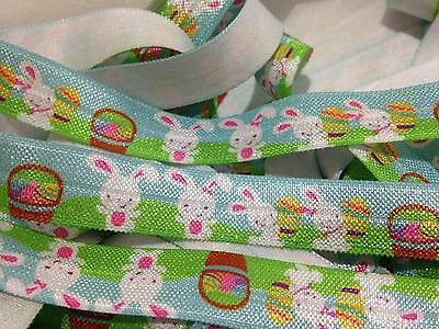 "1m/5m Easter Bunnie on Blue 5/8"" FOE Fold Over Elastic HeadBand Hair Ties DIY"
