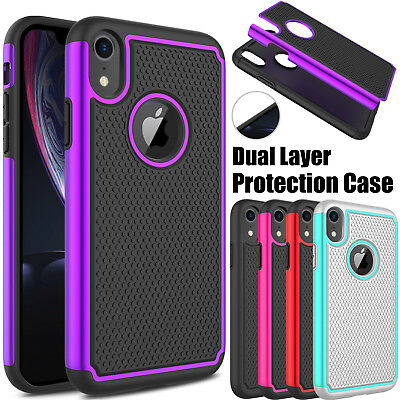 For Apple iPhone XR Phone Shockproof Case Hybrid Rugged Hard Rubber Armor Cover