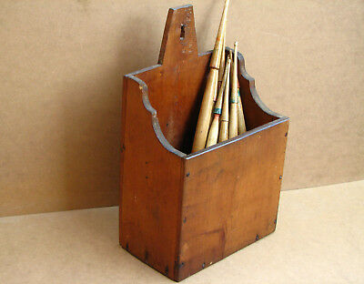 Old Antique Primitive Wooden Wood Box Case Kitchen Rack Wall Hanger Early 20th