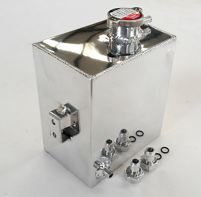 Universal Aluminum Coolant Expansion Recovery Overflow Tank Bottle Polished 2.5L