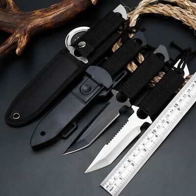 "8"" Fixed Blade Straight Tactical Military Pocket Hunting Knife With Sheath"
