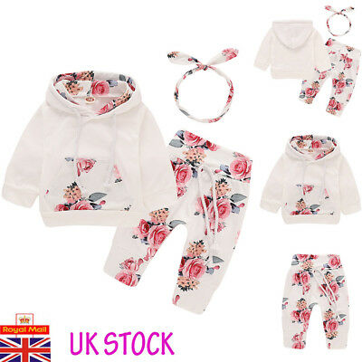 UK Newborn 3PCs Baby Girls Hooded Tops Pants Floral Outfit Clothes Set Tracksuit