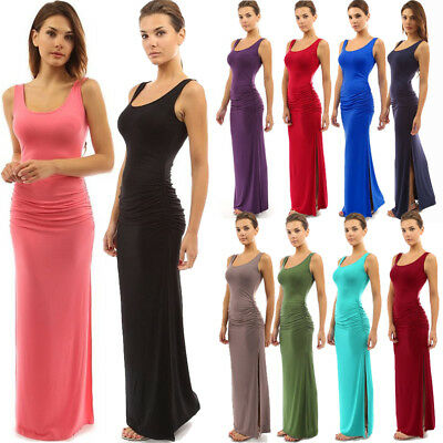 UK Womens Holiday Sleeveless Maxi Long Dress Ladies Summer Beach Bodycon Dress
