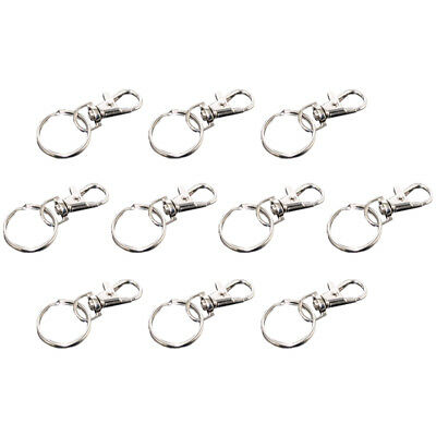 Trigger Clasp Swivel Clip Key Ring Bag Charms Finding + Split Ring Pack of 10