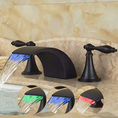 LED Oil Rubbed Bronze Waterfall Spout Basin Faucet Two Handles Sink Mixer Tap
