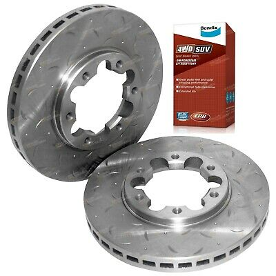 2 Front Disc Rotors Slotted Drilled + Bendix 4wd Brake Pads for GU GR Y61 Patrol